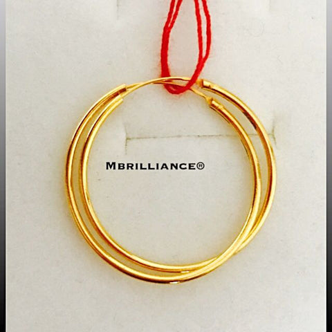 26mm plain Bali loop earrings 916 Gold Mbrilliance