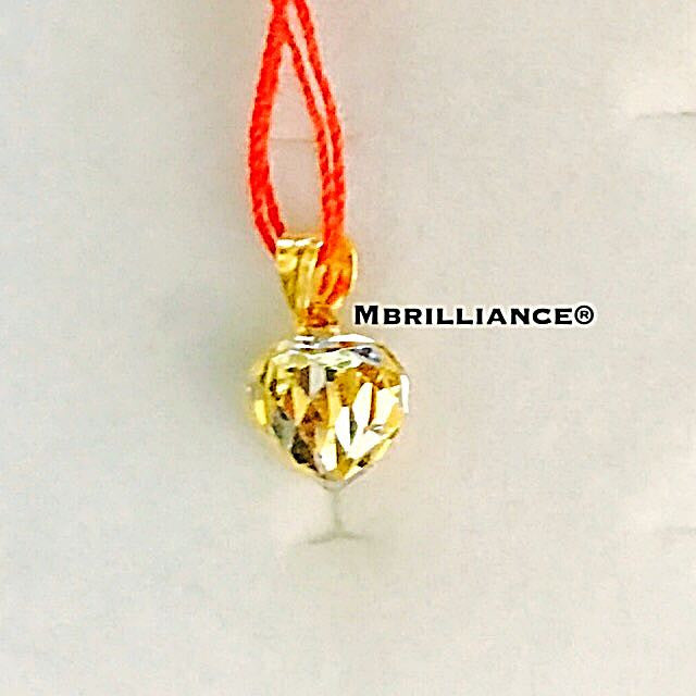 2 tones hearts pendant 22k / 916 solid gold Mbrilliance