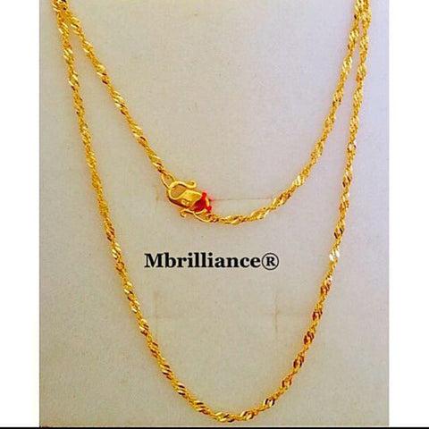 singapore twist chain 2mm twist chain necklace 22k, 916 Yellow Gold
