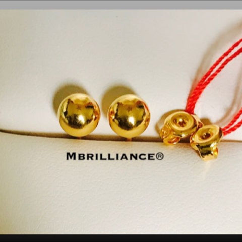 6mm Plain round earstuds 916 Gold by Mbrilliance