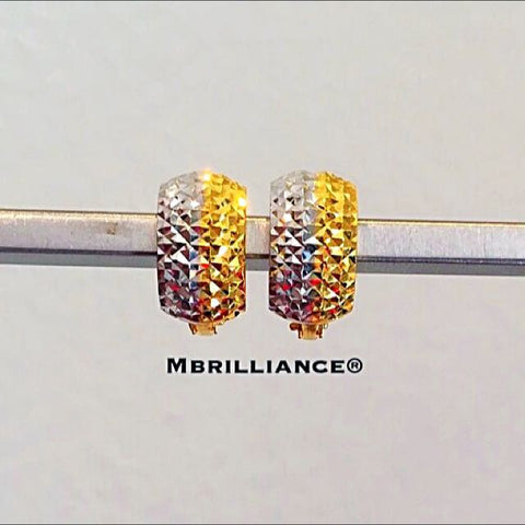 7mm Shining Diamond cut clip earrings 916 Gold by Mbrilliance