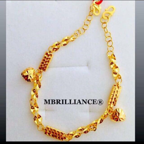 Adjustable Fancy Bars' bracelet 22k / 916 Gold by Mbrilliance