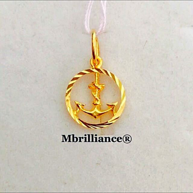 Round Anchor pendant 916 Gold by Mbrilliance
