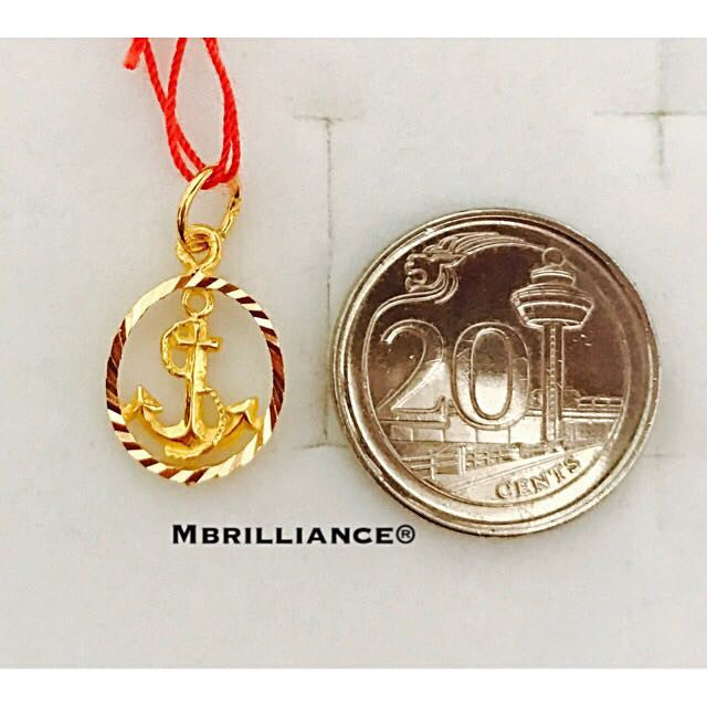 Oval Anchor pendant 916 Gold by Mbrilliance
