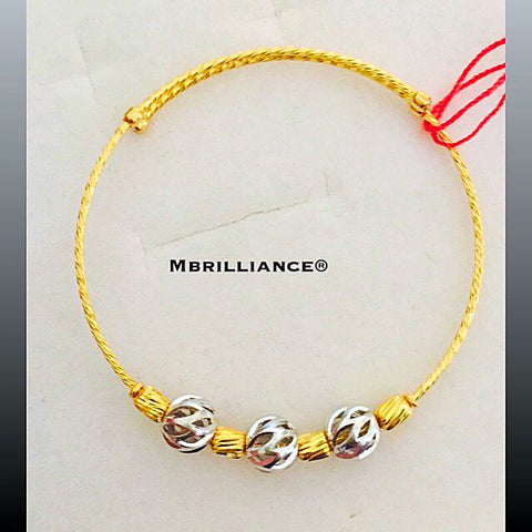 Baby's & kid's laser cut 2 tones bangle 22k / 916 Gold by Mbrillilance
