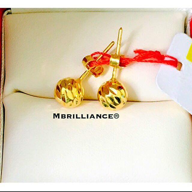 Big ball lasercut earstuds Earrings 916 Gold by Mbrilliance