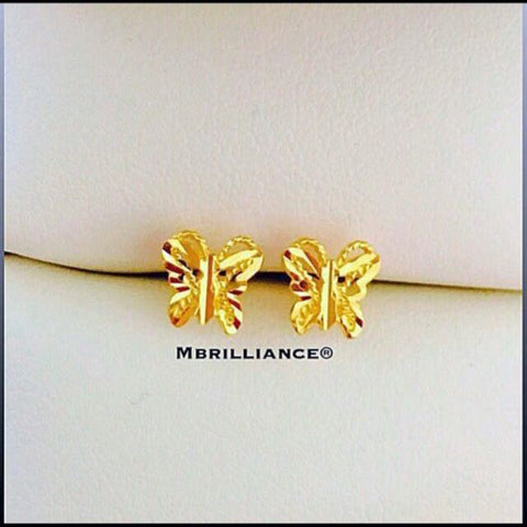 Butterfly earstuds 916 Gold by Mbrilliance