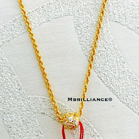 Cz stones Loop pendant & rope chain necklace set , 916 Gold by mbrilliance