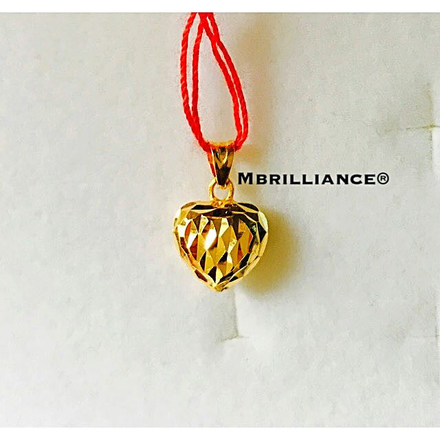 Diamond cut heart pendant 22k / 916 solid gold Mbrilliance