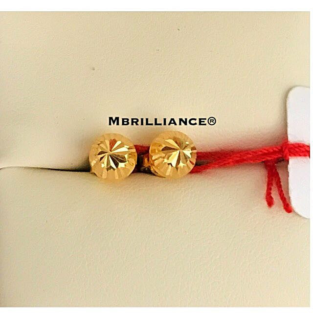 Diamond cut round earstuds earrings 916 Gold by Mbrilliance