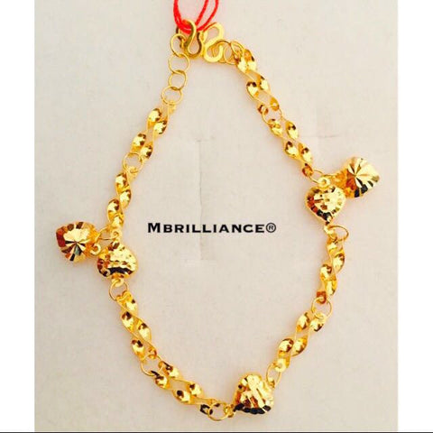 Fancy hearts charms bracelet 916 Yellow Gold Mbrilliance