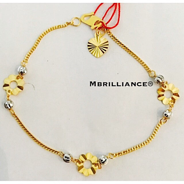 Flower bracelet  916 Yellow Gold by Mbrilliance