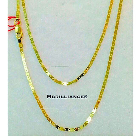 Italian slim mariner Valentino chain necklace, 916 Gold by Mbrilliance
