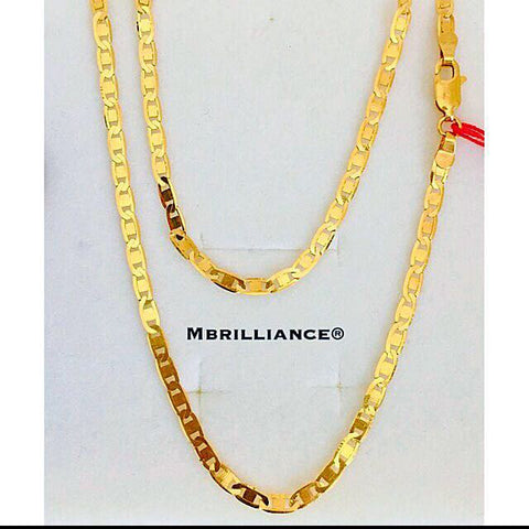 Italian Mariner Valentino chain Necklace, 916 Gold by Mbrilliance