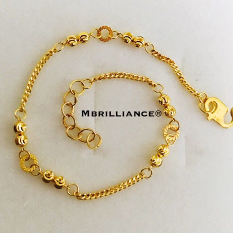Laser balls bracelet 916 Yellow Gold by Mbrilliance