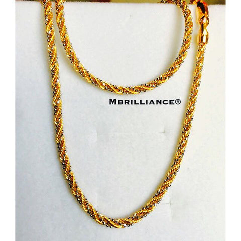 Laser Rope chain, 916 Yellow Gold by Mbrilliance