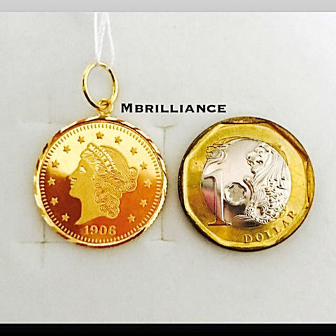 Queen coin pendant 916 Gold by Mbrilliance
