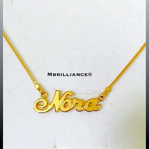 Customise name pendant necklace set solid 22k gold / 916 Gold by Mbrilliance