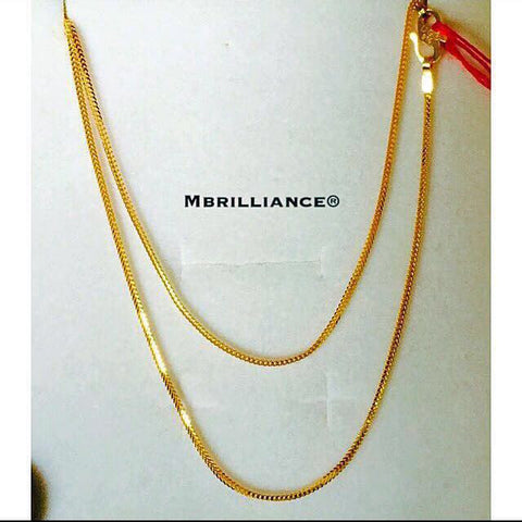 Peoples chain / foxtail chain necklace, 916 Gold by Mbrilliance