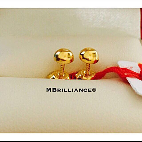 Plain half round earstuds earrings 916 Gold by Mbrilliance