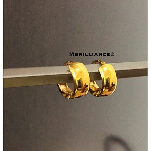 Plain Huggies clip earrings 916 Gold by Mbrilliance