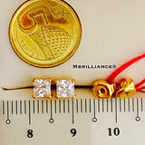 Princess cut solitaire cz stones eartstuds by Mbrilliance