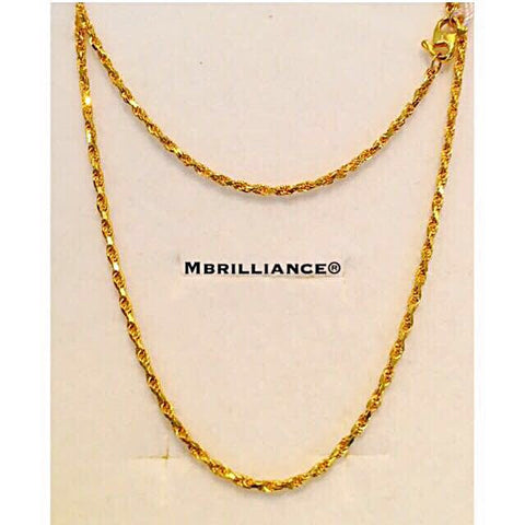 Size 1 Solid Rope chain necklace 916 Yellow Gold by Mbrilliance