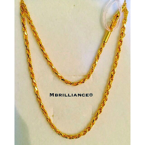 Size 2 solid rope chain necklace, 916 Gold by mbrilliance