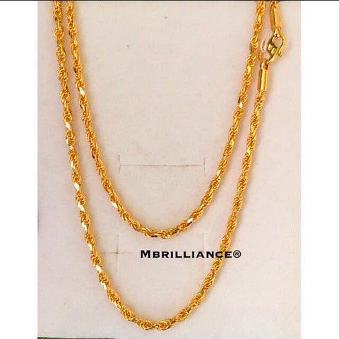 Size 3 Solid Rope chain, 916 Yellow Gold by Mbrilliance