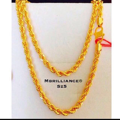 Size 5 rope chain necklace, 916 Gold by mbrilliance