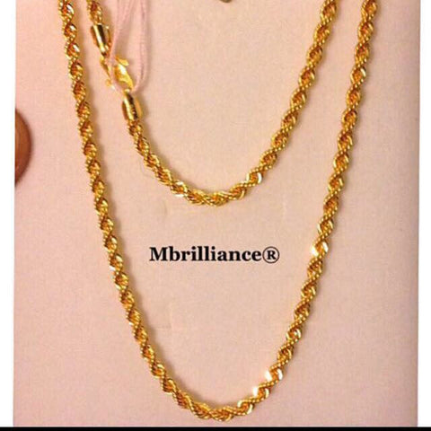 Size 3 rope chain necklace, 916 Gold by mbrilliance