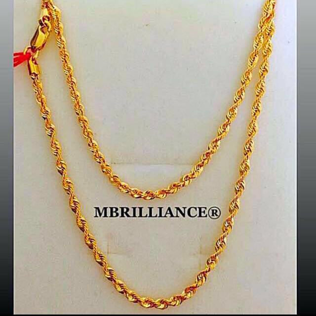 Size 2 spiral rope chain necklace, 916 Gold by mbrilliance