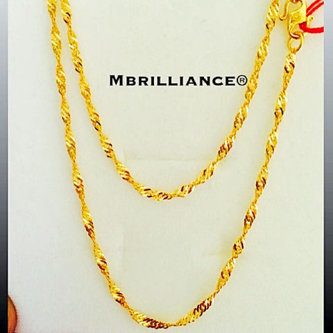Singapore Twist chain necklace 22k, 916 Yellow Gold