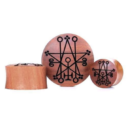 Astaroth Symbol Saba Plug - Custom Flesh Plugs & Gauges, Alternative, Tattoo - Engraved Woods - 1