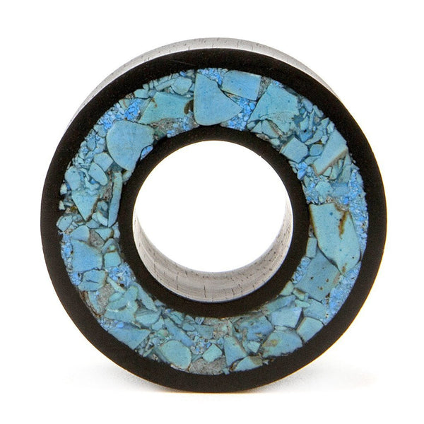 Crushed Turquoise Tunnel - Custom Flesh Plugs & Gauges, Alternative, Tattoo - Wood Plugs - 1