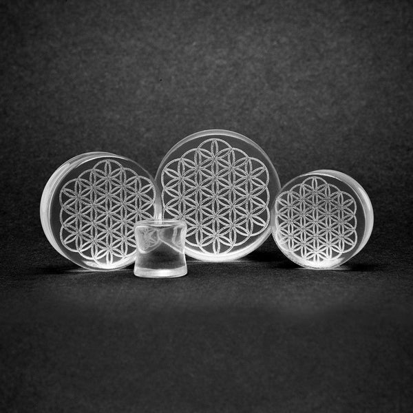 Glass Flower Of Life Plug - Custom Flesh Plugs & Gauges, Alternative, Tattoo - Glass Plug - 1