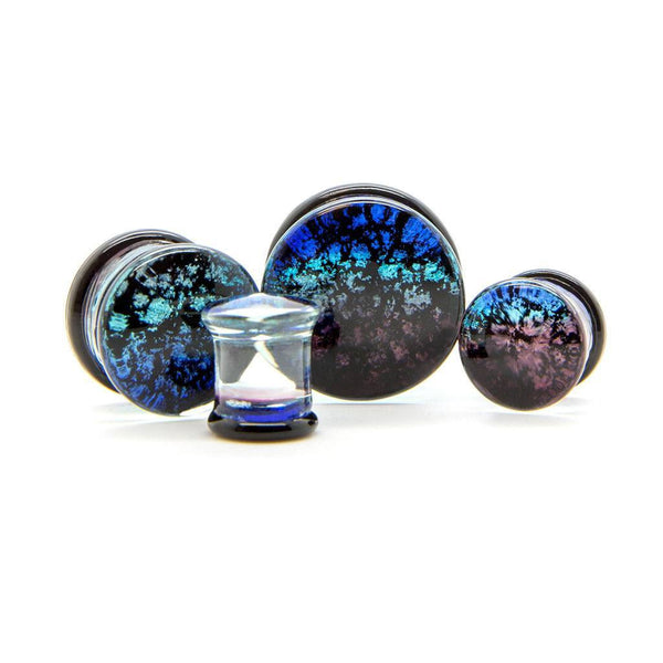Midnight Fade Glass Plug - Custom Flesh Plugs & Gauges, Alternative, Tattoo - Glass Plug - 1