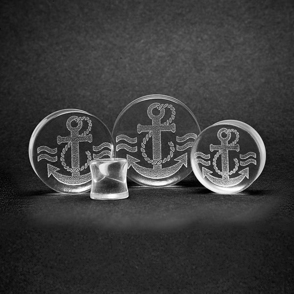 Simple Anchor Glass Plug - Custom Flesh Plugs & Gauges, Alternative, Tattoo - Glass Plug - 1