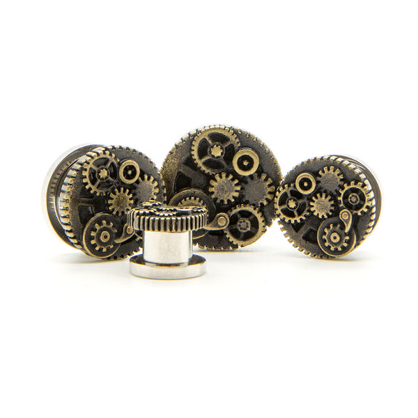 Steam Punk Cog Plug - Custom Flesh Plugs & Gauges, Alternative, Tattoo - Steel Plugs - 1