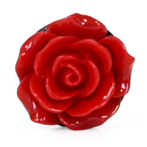 Bright Red Acrylic Rose - Plug - Custom Flesh Plugs & Gauges, Alternative, Tattoo - Acrylic Plugs - 3