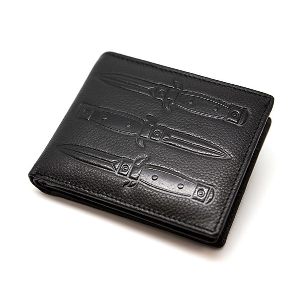 Knives - Black Leather Wallet - Custom Flesh Plugs & Gauges, Alternative, Tattoo - Wallets - 1