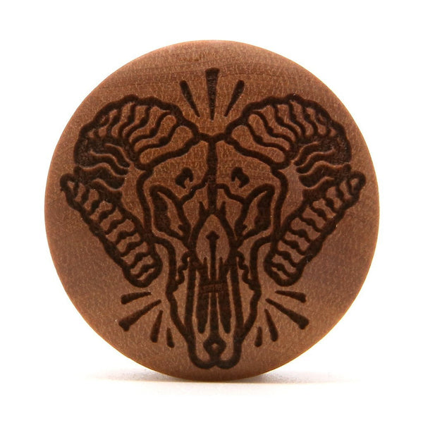 Ram Skull Saba Wood Plug - Custom Flesh Plugs & Gauges, Alternative, Tattoo - Engraved Woods - 1