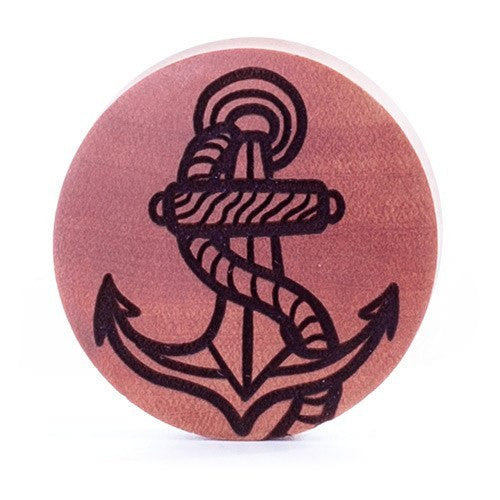 Anchor Saba Wood Plug - Custom Flesh Plugs & Gauges, Alternative, Tattoo - Engraved Woods - 1
