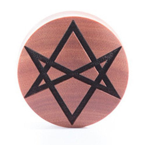 Hexagram Saba Wood Plug - Custom Flesh Plugs & Gauges, Alternative, Tattoo - Engraved Woods - 1