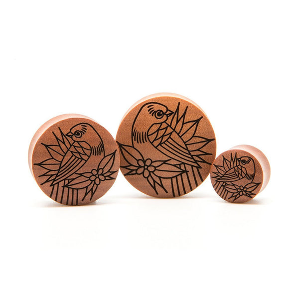 Small Bird Saba Plug - Custom Flesh Plugs & Gauges, Alternative, Tattoo - Engraved Woods - 1