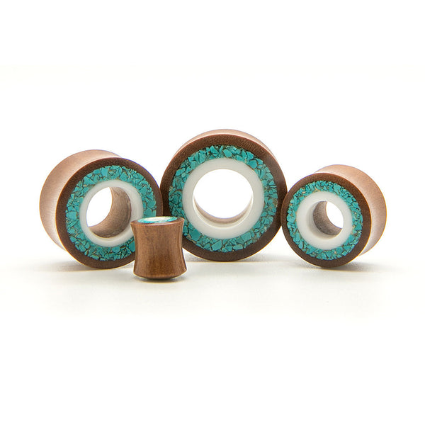 White & Turquoise Wood Tunnel - Custom Flesh Plugs & Gauges, Alternative, Tattoo - Wood Plugs - 1