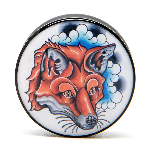 Fox Head - Plug - Custom Flesh Plugs & Gauges, Alternative, Tattoo - Acrylic Plugs - 4