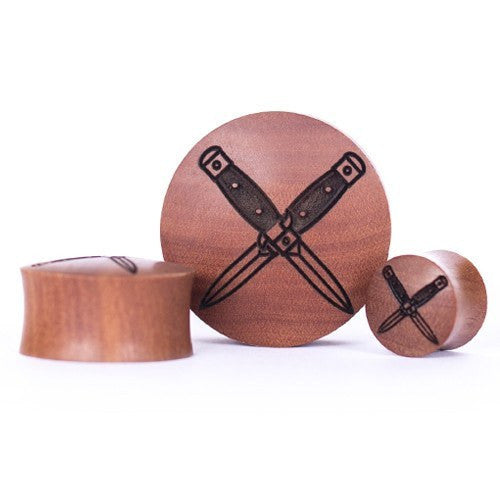 Rusty Daggers Saba Wood Plug - Custom Flesh Plugs & Gauges, Alternative, Tattoo - Engraved Woods - 1
