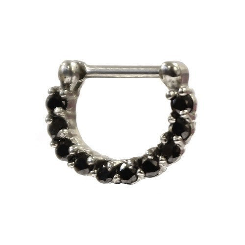Silver and Black Septum Clicker 1.6mm - Custom Flesh Plugs & Gauges, Alternative, Tattoo - Curved Barbells - 1