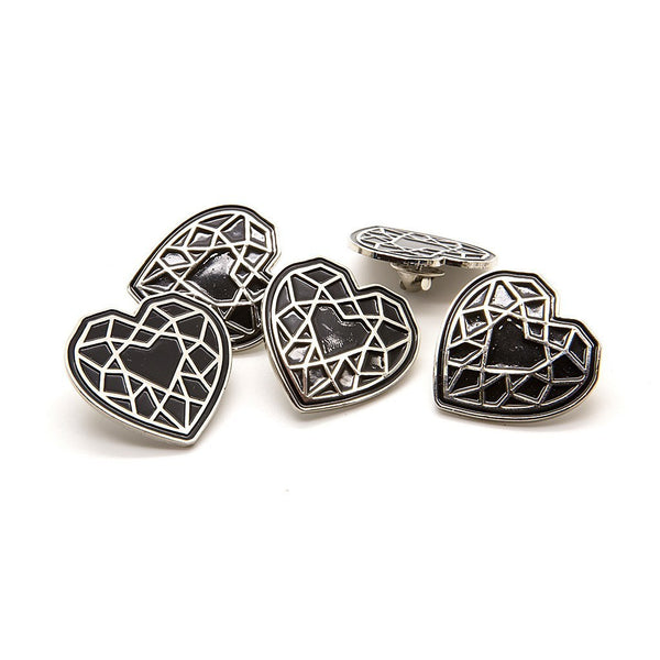 Glass Heart Enamel Pin - Custom Flesh Plugs & Gauges, Alternative, Tattoo - Enamel Pin - 1